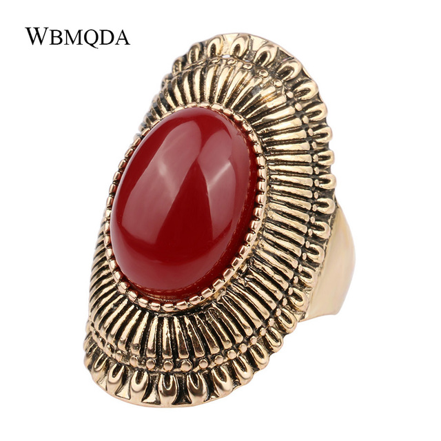 Bohemian Ring Vintage Antique Gold Color Big Statement Rings For Women Fashion Indian Jewelry 2018 Free Shipping