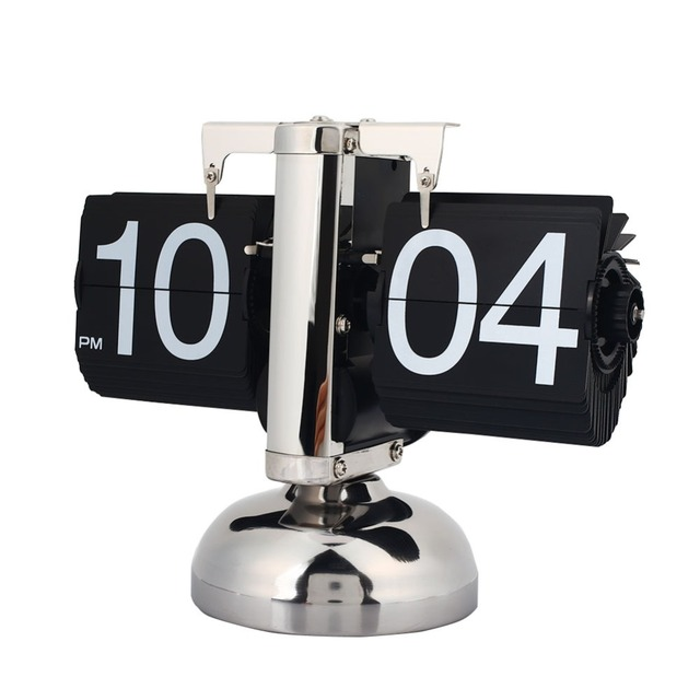 Scale Table Clock Retro Flip Over Clock Stainless Steel Flip Internal Gear Operated Quartz Clock Table Desk Clock Page Turning