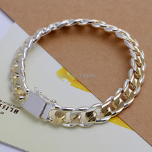 HOT SALE H091 Fashion Jewelry 925 Sterling Silver Cool Man 10mm Bracelet Chain,Top Quality Jewelry Bracelet