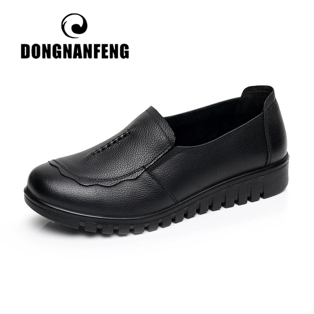 DONGNANFENG Women Female Old Mother Flats Shoes Loafers Slip On Round Toe Black Cow Genuine Leather Casual Non Slip 35-41 HD-807