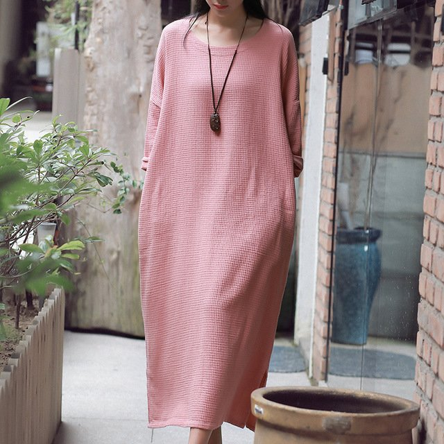 Vintage  Dress Women 2019 New Autumn New Solid Color Cotton Linen Casual O-Neck Long Sleeve Loose Robe Long Dresses Plus Size
