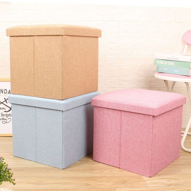 Cotton and linen storage stool folding stool sorting storage stool footstool storage box