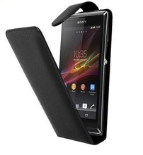 New Black Leather case Mobile Phone saver for Sony Xperia L Experia S36H