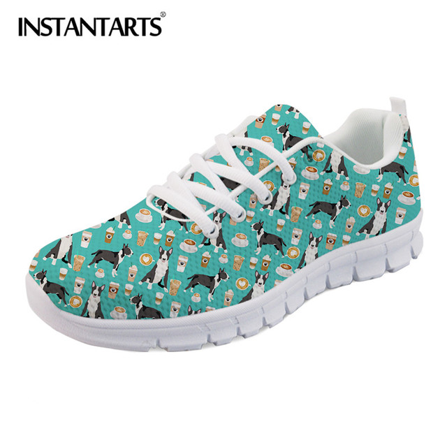 INSTANTARTS 2018 Autumn Women Casual Flats 3D Puppy Dog Bulldog Terrier Print Breathable Female Sneakers Mesh Lace Up Flat Shoes