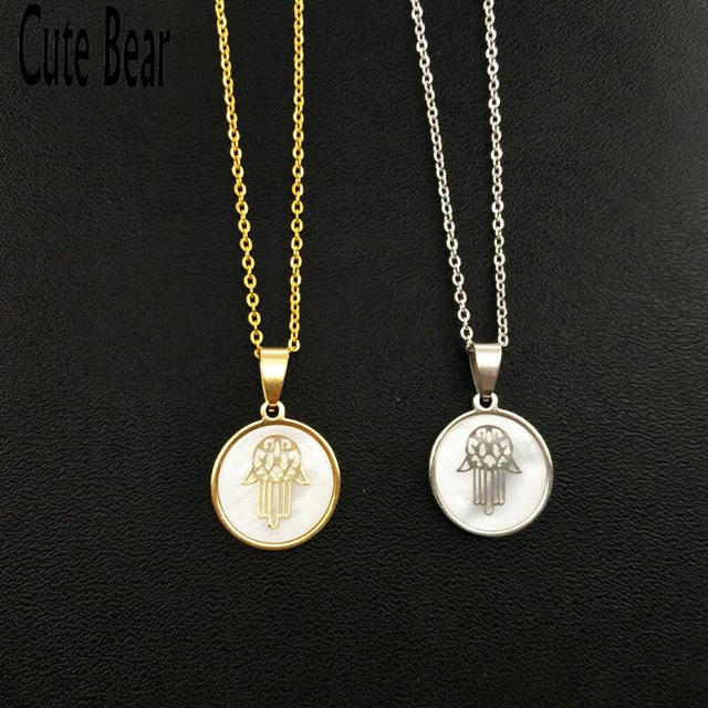 Cute Bear New Evil Eye Fatima Hand Necklace Gold Silver Color shell Amulet Hand of Fatima Pendants Necklaces for Women Jewelry
