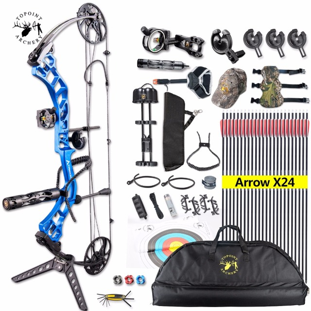 6 Color Ship From USA High Quality Topoint Archery Trigon 19-70lbs Adjustable Compound Bow Full Package for Hunting Shooting