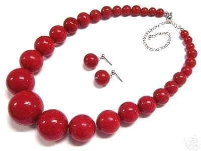 Beautiful red Coral necklace earring set Wonderful Nobility Fine Wedding Jewelry Lucky Women's