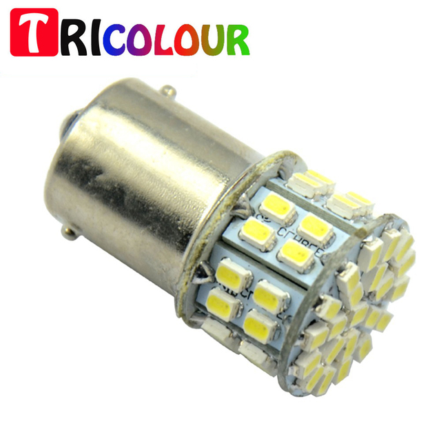 TRICOLOUR 10x S25 1156 1157 BA15S BAY15D 1206 50 smd led tail brake turn signal corner light 12v DC auto lamp white #TF02-2
