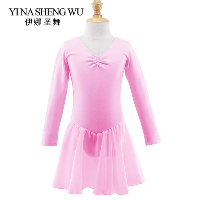 Children Long/Short Sleeve Ballet Leotard Girls Kids Cotton Dance Training Dress Ballet Dance Chiffon Skirt Leotard 3 Colors