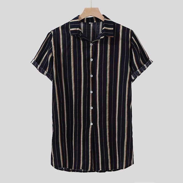 Men Shirt Colorful Stripe Summer Short Sleeve Tops Loose Buttons Casual Beach Blouse Turn Down Collar Shirt Men chemise homme