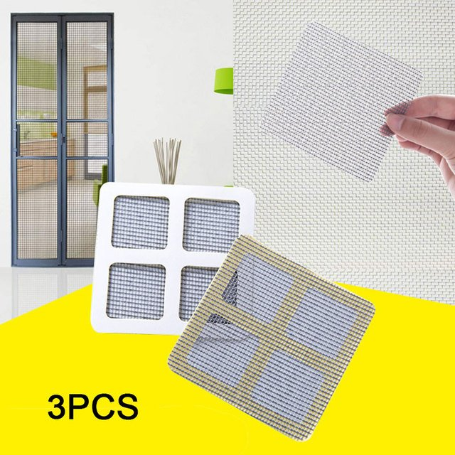 Polyurethane Mesh 3pcs Insect Net Window Screen Door Patch Window Repairing Paste Mosquito Net Repair Patches Effective Patches