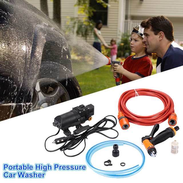 High Pressure Pump Washing Machine Kit Tool Nozzle Portable Car Cleaner Electric Washer Spray 130PSI DC 12V 70W Water