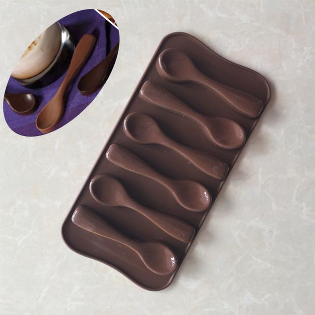 6 Spoons Shaped Chocolate Mold Food Grade Silicone Chocolate Mold Silicone Ice Trays Mould