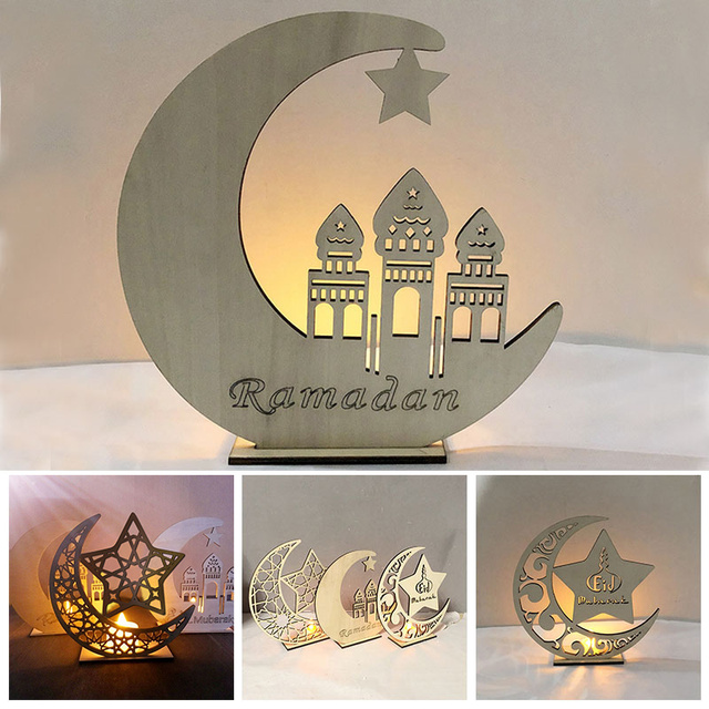 Romantic LED Tealight Ramadan Wooden Eid Mubarak Table Decoration Holiday Decor Mosque Crescent Islam Muslim Home Candles Light