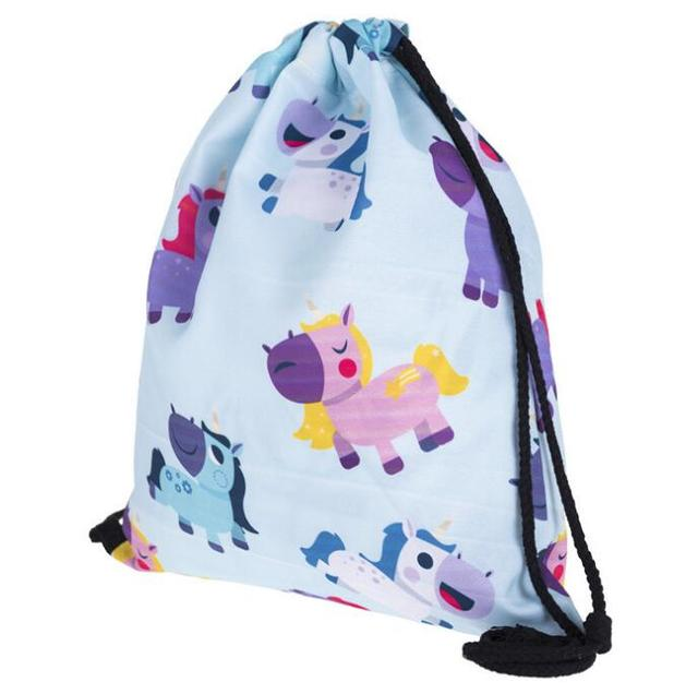 1 piece colorful Unicorn horse corn Printing Backpack oxford Beach Bag Casual Teenage Drawstring Bag