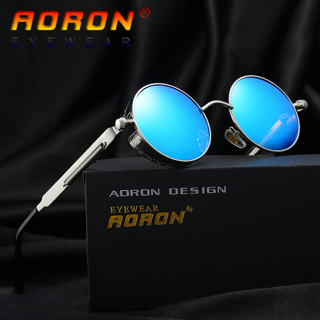 AORON Brand Men Polarized Sunglasses Gothic Steampunk Coating Mirrored Round Circle Sun Glasses Retro UV400 Vintage Eyewear