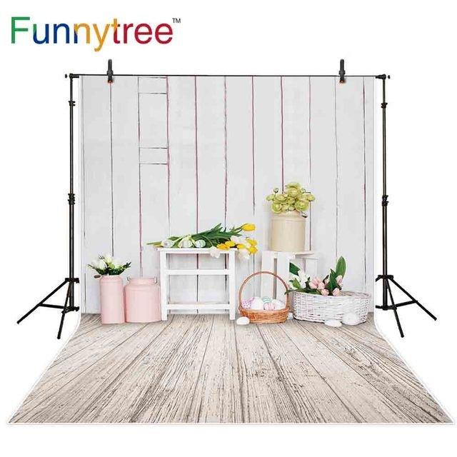 Funnytree backgrounds for photography studio white room flowers Easter vintage wood floor eggs backdrop photocall photobooth