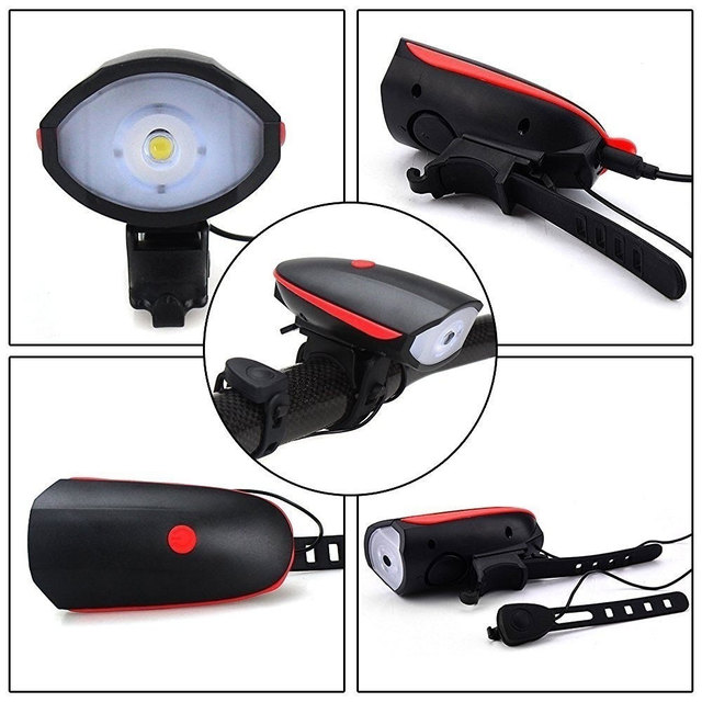 Durable Bicycle Headlight Horn USB LED T6 Rechargeable Tail Flashlight Waterproof Camping Rear Lamp Front Light Hiking Dimmable