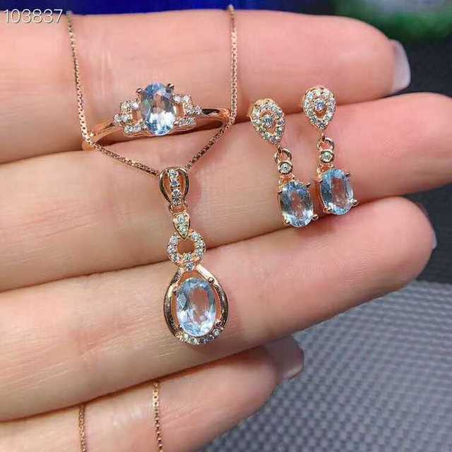 Video! Fidelity Natural 5*7mm Aquamarine s925 sterling silver fresh fine jewelry sets for women natural light blue gemstone