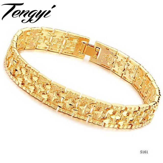 TENGYI NEW ARRIVAL brand new design Fashion set STARS BRACELET yellow gold color chains bracelet FREE SHIPPING TY161