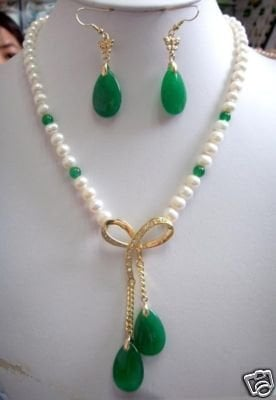 real geous white pearl&green gem stone Earring necklace Wonderful Nobility Fine Wedding Jewelry Lucky Women's 925 noble lady's