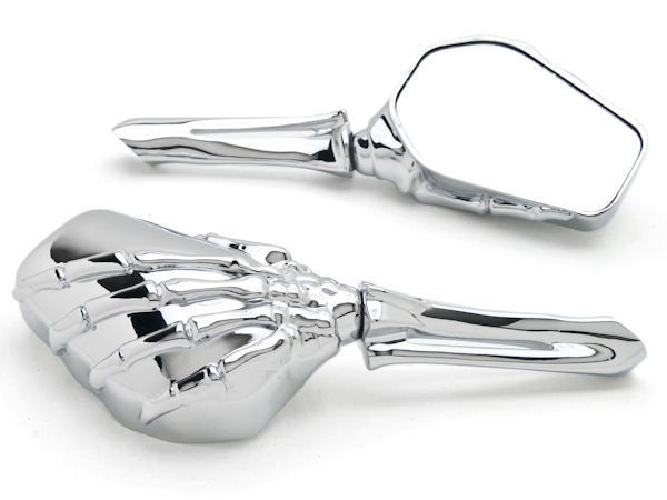 KEOGHS Custom Chrome Skull Bone Skeleton Hand Mirrors For Motorcycle Cruiser Chopper