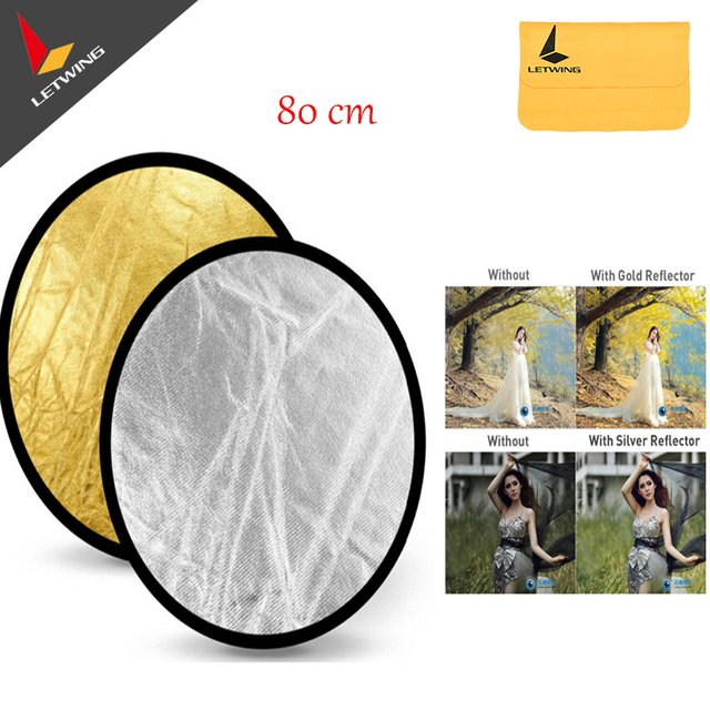 """Godox 2 in 1 Collapsible 80cm/32""""Gold & Silver Light Reflector Portable Light Round Photography/Photo Reflector for Studio"""