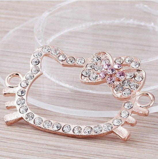 Rose Gold Tone Hello Kitty Connector With Crystal Rhinestone Charms Bead Sideways Bracelet Connector Free Shipping