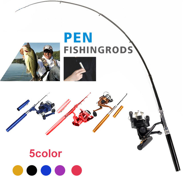 Rod Combo 5 Color Practical Mini Carbon Fishing  Pole Pen Portable Durable Casting Rod Fishing Tackle Mini Feeder Fishing