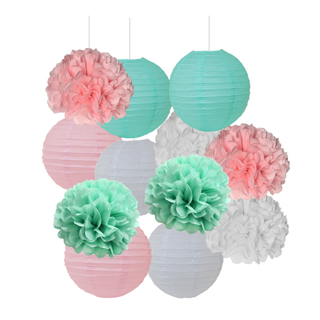 5 pcs 25cm(10inch) Tissue Paper Pom Poms Wedding Party Decor Craft Paper Flower For Wedding Decoration flowers home decoration