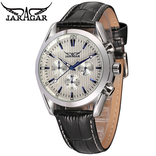 JARAGAR Luxury Watch Orologio Uomo Men's Date/Week/24Hours See Through Back  Auto Mechanical Watches Gift Wristwatch Free Ship