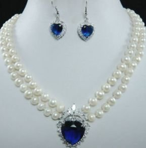 Fine Wedding Jewelry Lucky Women's white FW pearl blue Crystal necklace earring
