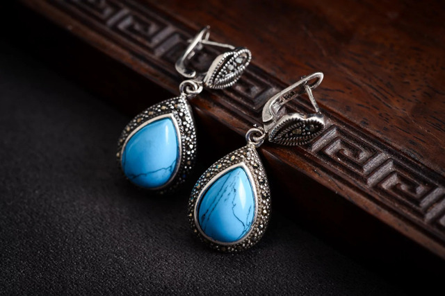 Natural STONE 925 sterling  With Blue stone Ring Earring>Lovely Fine Brincos Ohrringe Sterling Jewelry Earring