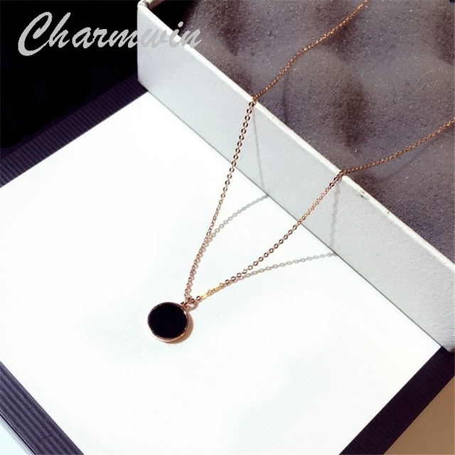 Charmwin New Fashion Short Necklace Pendant Necklace Women Classic Circle Silver Color Rose Gold Color Clavicle Chain Necklaces