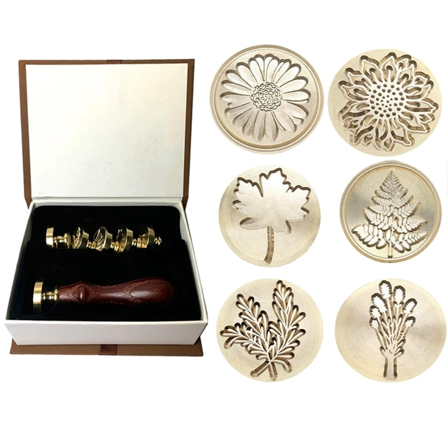Gift Moorlando Wax Seal Stamp Set, 6Pcs Botanical Sealing Wax Stamp Brass Heads + 1Pc Wooden Handle With A Gift Box Vintage