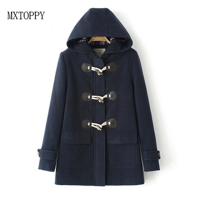 2018 Woman Woolen Overcoat Duffle Coat Long Turn Down Horn Button Hooded Collar Wide Waisted manteau femme OutWear winter coats