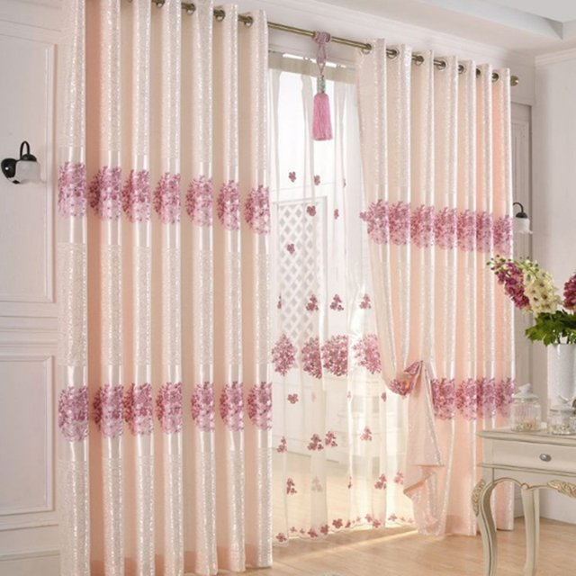 POPANGEL New Embroidery Polyester Thermal Insulated Half Blackout Living Room Window Curtains and Voile Curtains For Customized