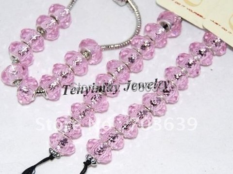 Wholesale 100pcs Pink Faceted Big Hole Glass Loose Beads For Charm Bracelet DIY Free Shipping