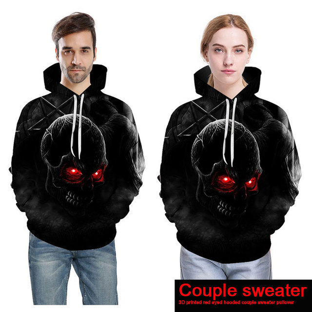Long Sleeves Outerwear Sweatshirt 3D Print Skull Hoodies Cool Pullover Women Men Unisex Couple wear Winter Casual Plus Size