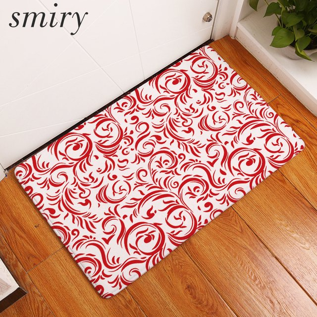 Smiry Flannel Entrance Home Anti Skid Rug Red Floral Decorative Pattern Carpets 40*60cm Dustproof Durable Modern Bedroom Mats