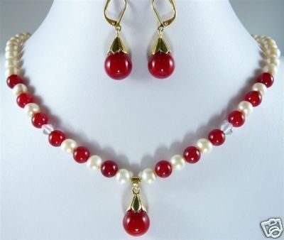 Exquisite Charming pearl red stone necklace &earrings set Wonderful Nobility Fine Wedding Jewelry Lucky Women's 925 noble lady's