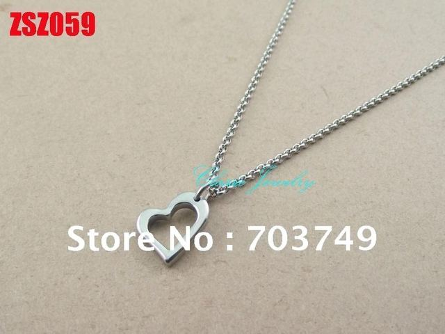 Wholesale - 2mm chain heart-shaped  stainless steel necklace lover Jewelry women chains 20pcs ZSZ059