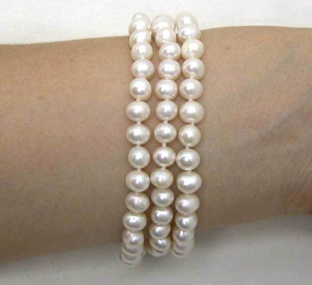 3 Strands white 6-7mm freshwater Pearl Bracelet with Unique clasp-bra130 Wholesale/retail Free shipping