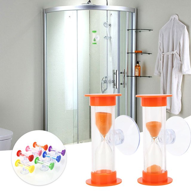 Shower Timer Sand Clock Toy ABS Hourglass Gadget Accessories Home Colorful with Sucker Bathroom Bathing Tool