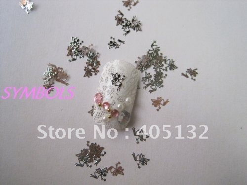 Approx. 1000pcs/bag Silver Cute Fairy Design Non-adhesive Metal Slices Nail Art Decoration ms-9-1