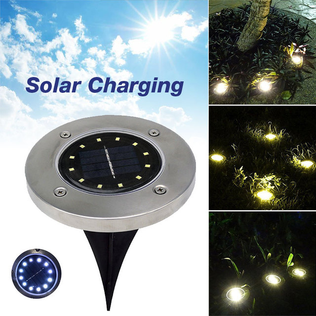 Buried Light Ground Lamp Eco-Friendly Solar Power 12 LED Landscape Light Path Way Street Outdoor