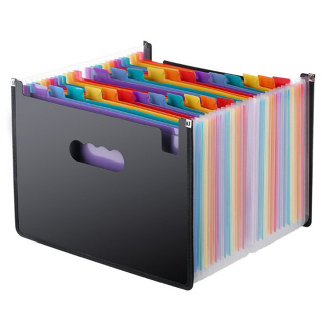 Expanding File Folder 24 Pockets, black Accordion A4 folder Document Organizer