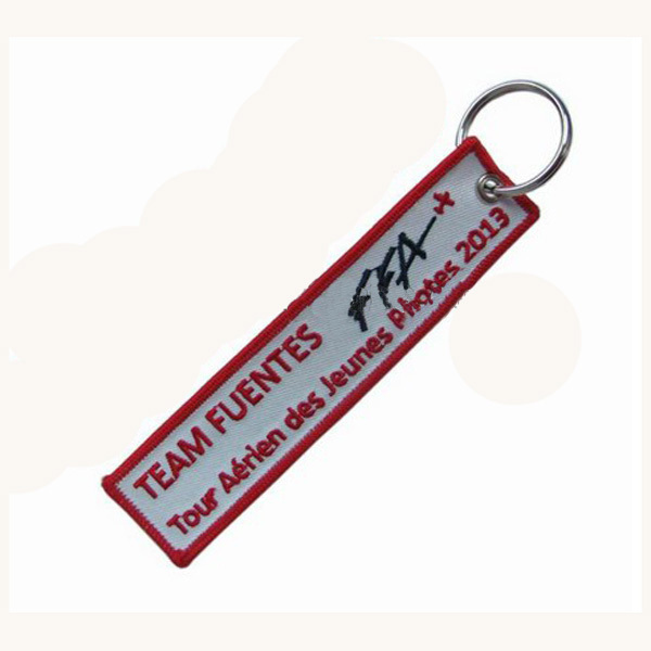 Custom Chain/Embroidery Keychain Made by Twill and with 3cm Metal Ring Make as Client Request & MOQ100pcs Free Shipping