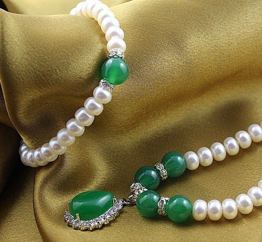 Fashion Classical Real Freshwater Pearl Jewelry Set, Necklace Bracelet Earrings Jewellery Set Accessory for Charm Women