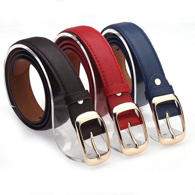 7 Colors Women Belts Ladies Faux Leather Metal Buckle Straps Belts Thin Skinny Waistband Adjustable Belt Clothes Accessories